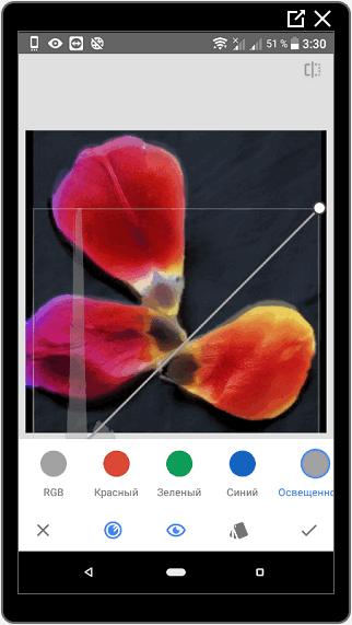 Редактирование кривых в SnapSeed для Инстаграма